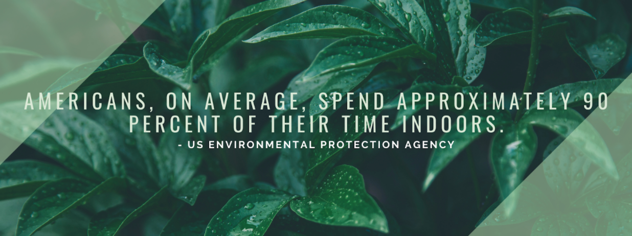 """Green graphic with quote """"Americans, on average, spend approximately 90 percent of their time indoors"""""""