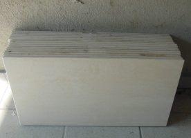 15 Feinsteinzeugplatten=2,7m², 60x30cm Hellbeige,braun marmoriert