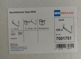 BMI BRAAS Sturmklammern Opal 40/60 100 Stück im Paket