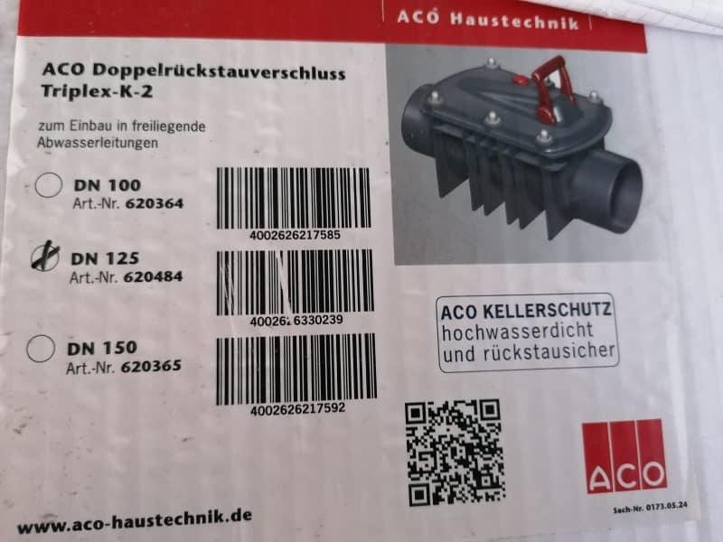 ACO Doppelrückstau Triplex DN 125 für freiliegende Rohre