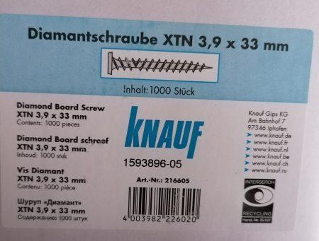 Knauf Diamantschraube 3,9x33mm 1000 Stück / Pak.