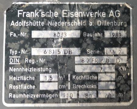 Oranier Guss Emailleofen Holz/Kohle