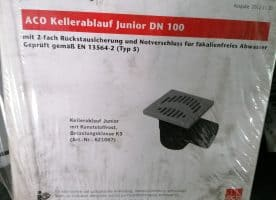 Aco Kellerablauf Junior mit 2-fach Rückstausicherung und Notverschluss, für fäkalienfreies Abwasser DN 100