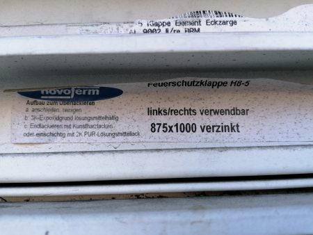 Novoferm FH-Klappe 875x1000mm li/re verwendbar, verzinkt