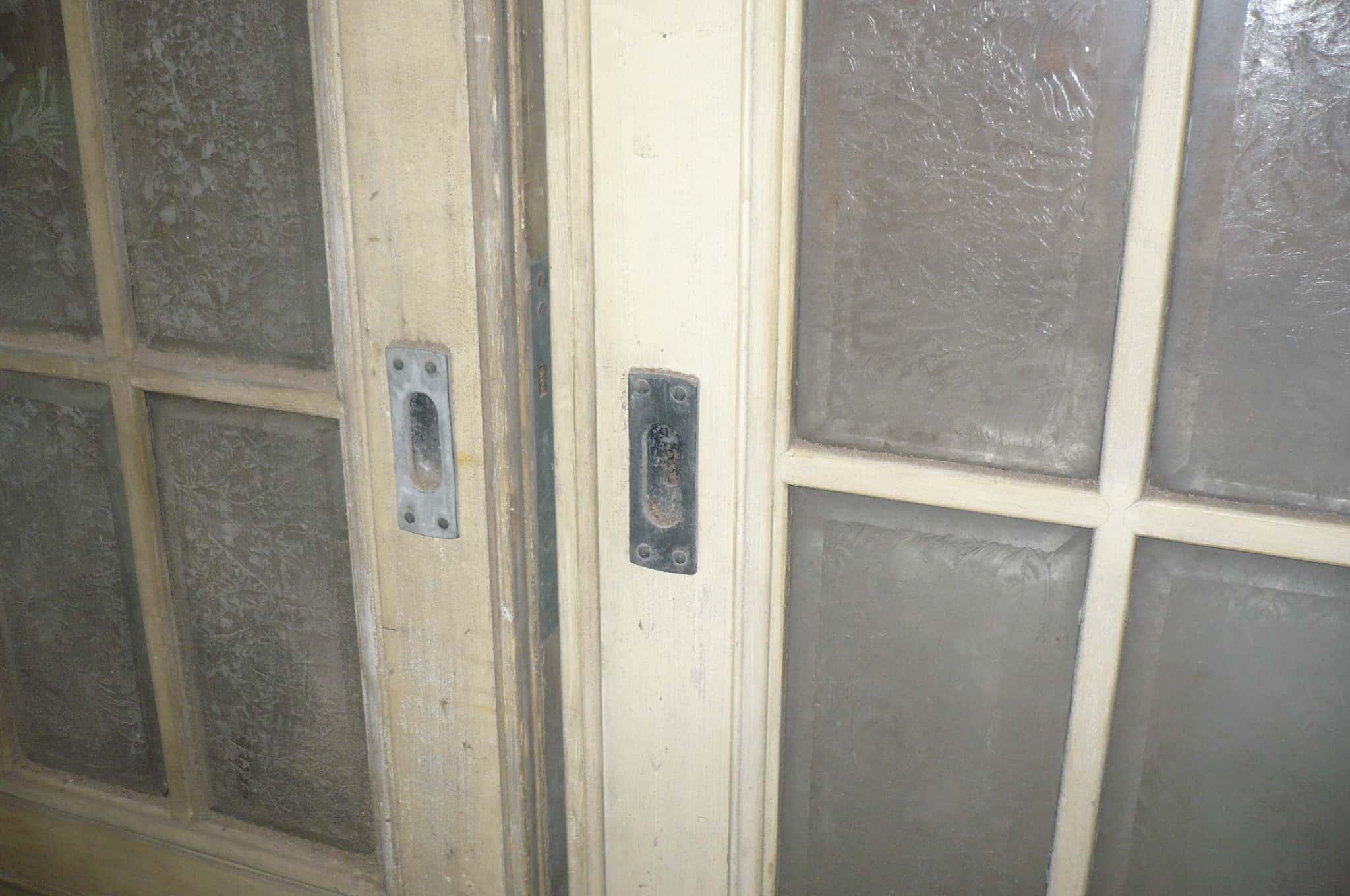 Paar Schiebetüren für Wohnraum, ca. 1910-1920, Eisblumenglas