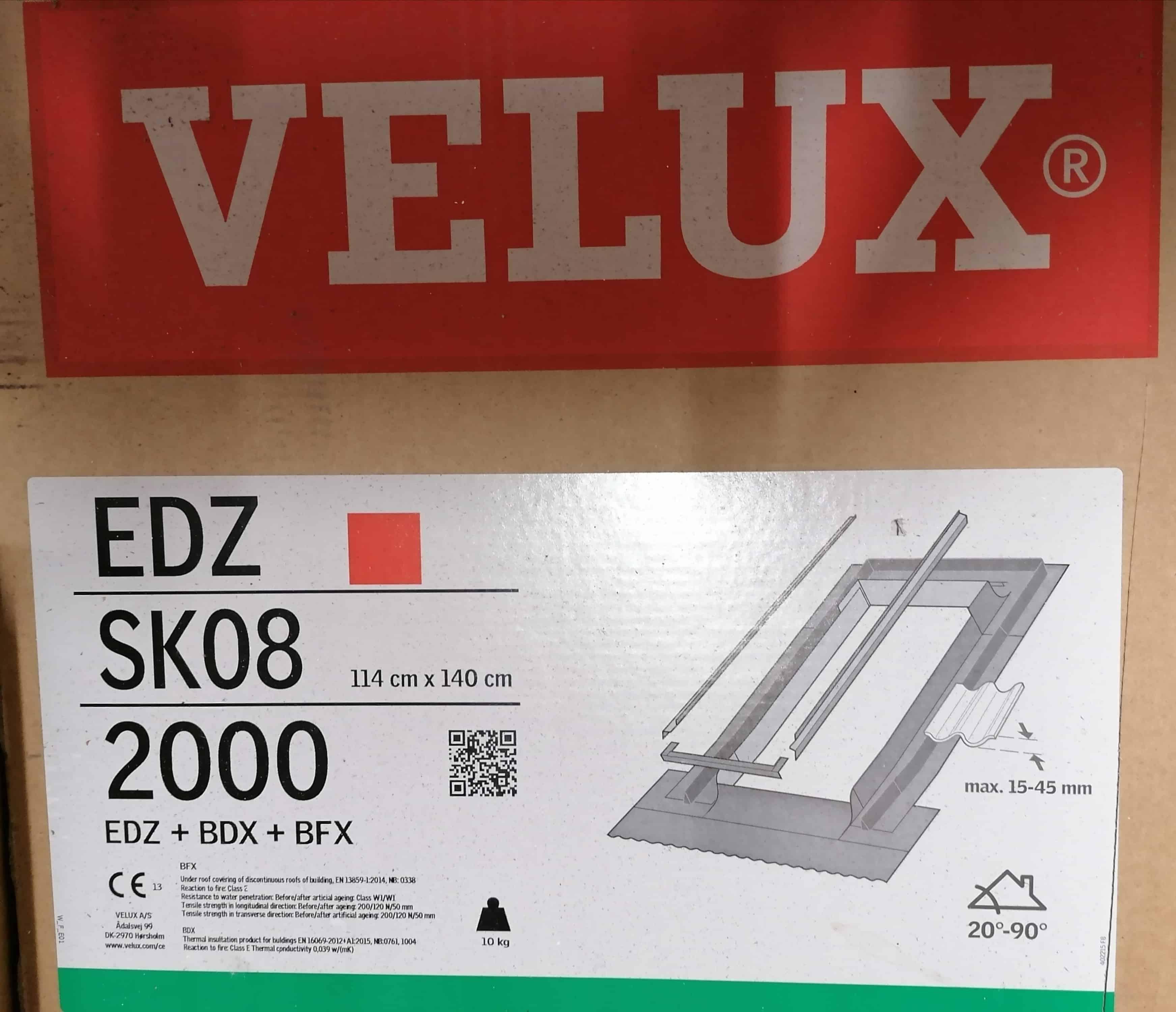 Velux EDZ SK08 2000 Eindeckrahmen, Ziegel, inkl. BDX, ALU 114 x 140mm
