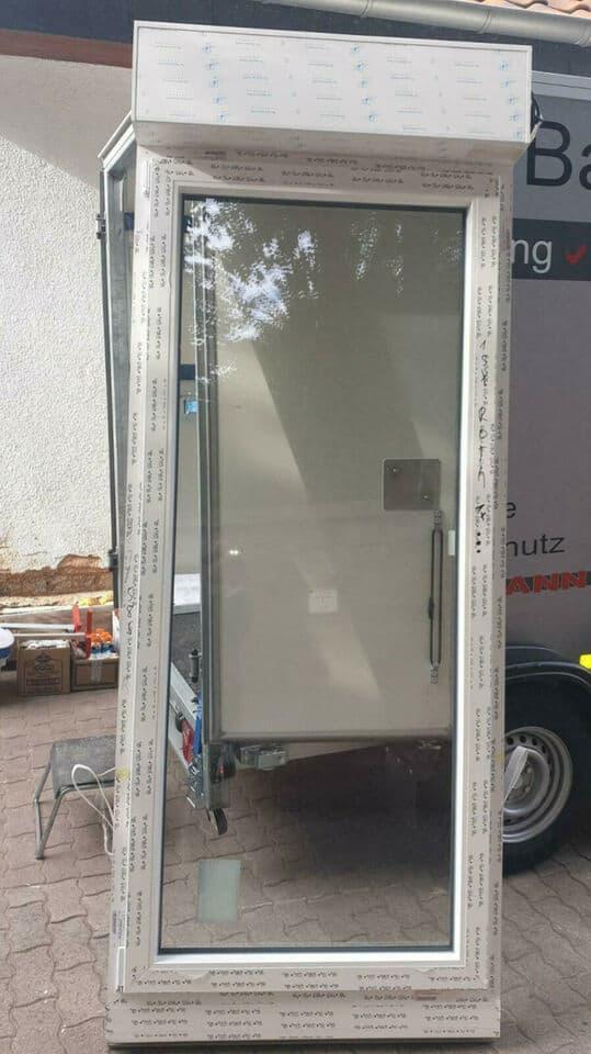 Rehau Kunststoff Balkontür mit Aufsatzkasten, Motor und Aluminium Rollladenpanzer