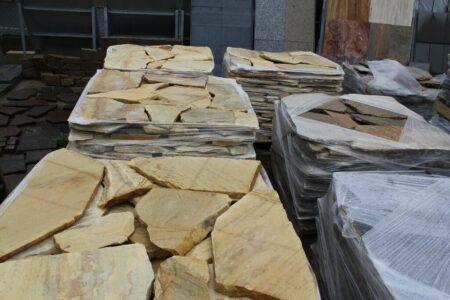 Naturstein-Bruchplatten, Quarzit, gelb