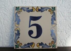 Hausnummer Keramik, Spanische Fliesen, Handarbeit