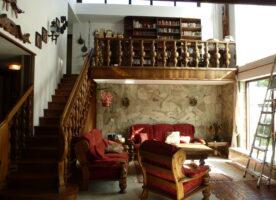 Eiche rustikal Massivholz Galeriegeländer und Treppe