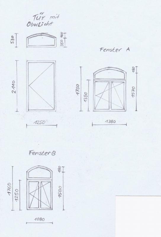 Tür mit Oberlicht und Zarge