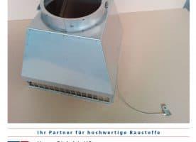 Kamin – Abströmkopf in Edelstahl matt Außenmaß 360x360x1 mm Ø 140 mm