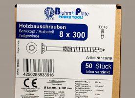 Bluhm & Plate Holzbauschrauben blau verzinkt – 8 x 300 mm – Senkkopf – TX40 – 50 Stk.