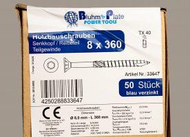 Bluhm & Plate Holzbauschrauben blau verzinkt – 8 x 360 mm – Senkkopf – TX40 – 50 Stk.