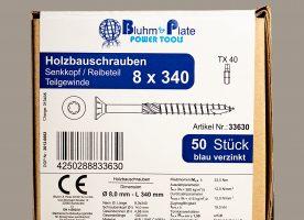 Bluhm & Plate Holzbauschrauben blau verzinkt – 8 x 340 mm – Senkkopf – TX40 – 50 Stk.
