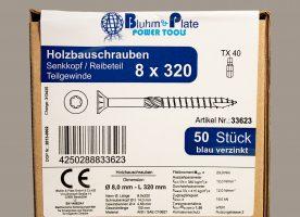 Bluhm & Plate Holzbauschrauben blau verzinkt – 8 x 320 mm – Senkkopf – TX40 – 50 Stk.