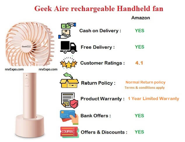 Geek Aire Rechargeable Handheld Fan 5 Inches with 2600 mAh Li-ion Battery