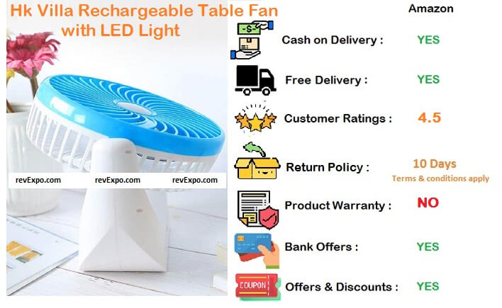 HK Villa Rechargeable Table Fan with LED Lights