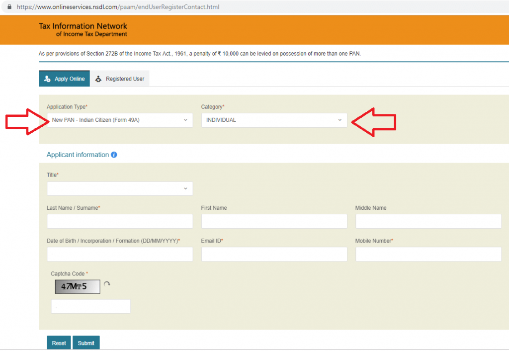 Online Pan card application for indian citizen for individual