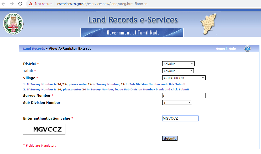 enter details to view register extract