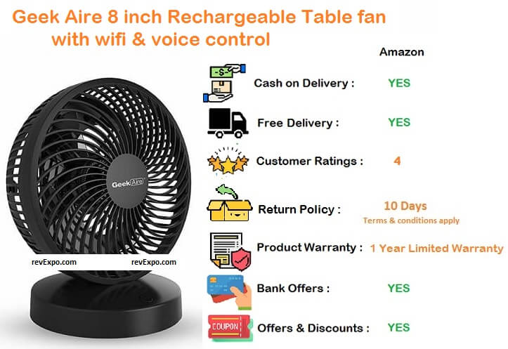 geek aire rechargeable table fan 8 inch with wifi & voice control