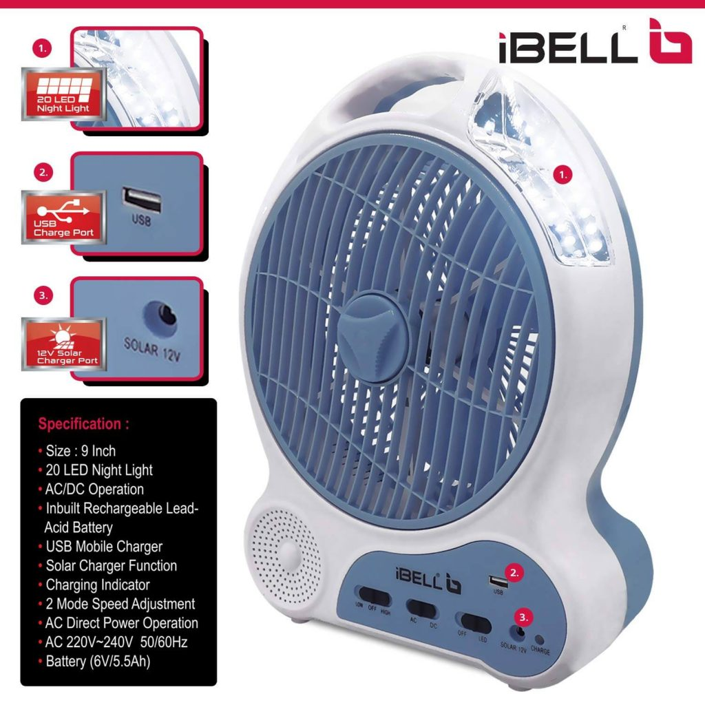 ibell rechargeable table fan with battery