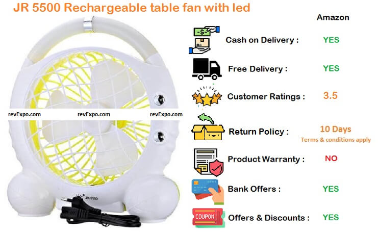 Citra JR 5500 Rechargeable Table fan with LED