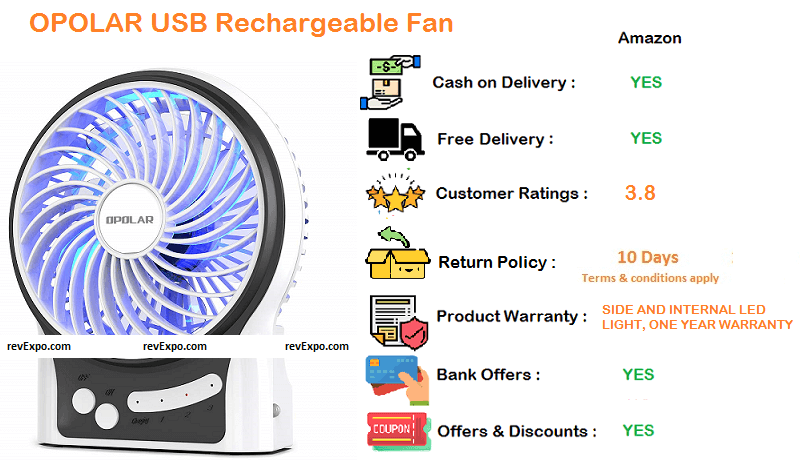 opolar rechargeable table fan with battery