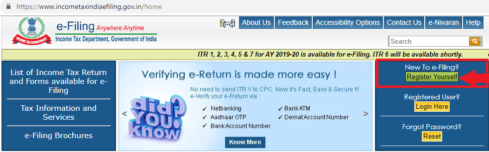 register yourself on income tax india filing
