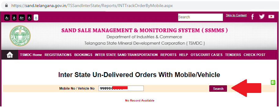 telangana sand interstate orders with mobile or vehicle number details