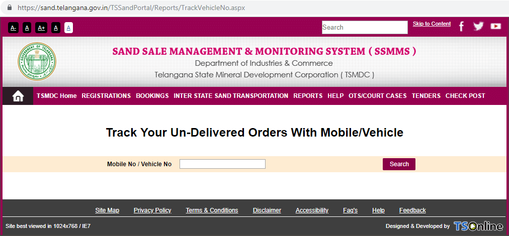 track undelivered orders with mobile vehicle number