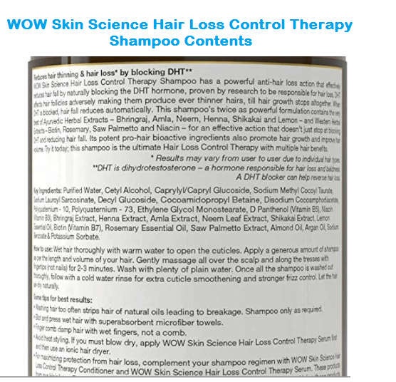 WOW Skin Science Hair Loss Control Therapy Shampoo contents