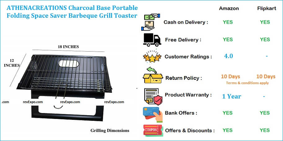 ATHENACREATIONS Charcoal Base Barbecue Grill Portable Folding Space Saver Griller & Toaster