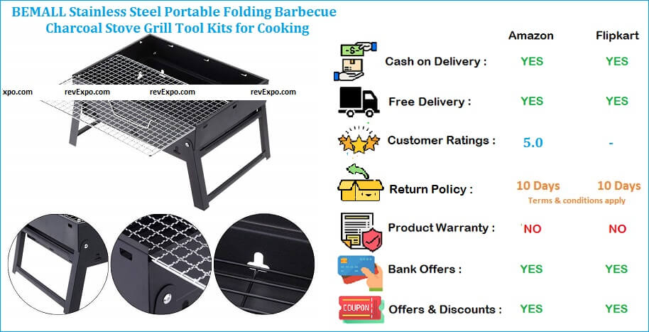 BEMALL Stainless Steel Folding Barbecue Charcoal Stove Portable with Grill Tool Kits