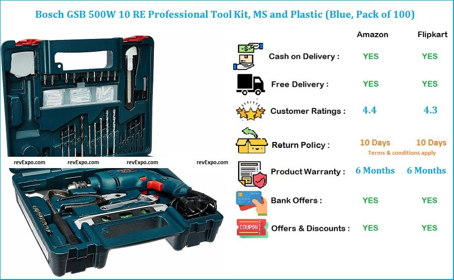Bosch GSB 10 RE Pack of 100 Professional Tool Kit 500W with MS and Plastic