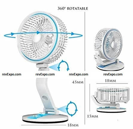 CITRA MIC MAC LR-2018 Powerful Rechargeable Table Fan with 21 SMD LED Light dimensions
