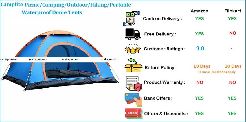 Camplite Portable Waterproof Dome Tent for Camping Picnic Outdoor & Hiking