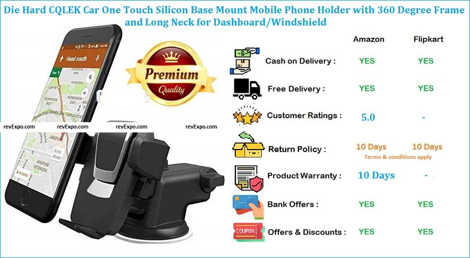 Die Hard CQLEK Mobile Stand for Car with One Touch Silicon Base Mount & Long Neck for Dashboard Windshield