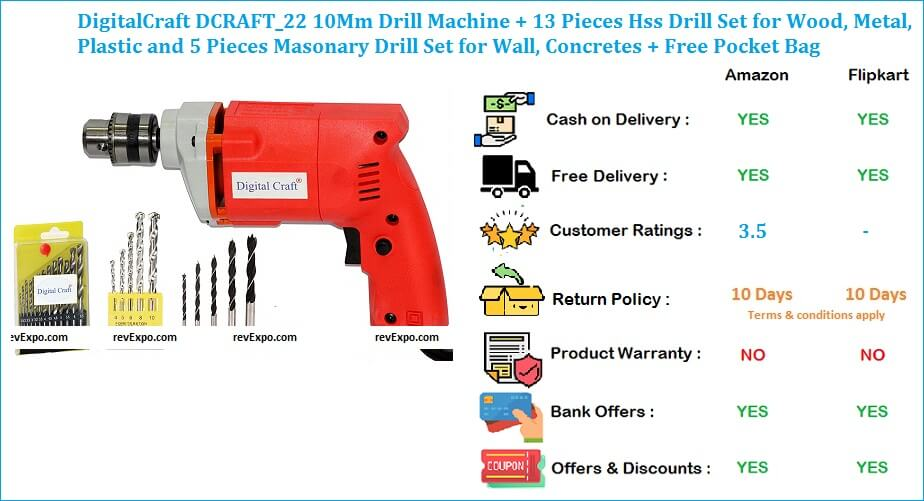 DigitalCraft 10Mm Drill Machine with 13 Pieces HSS Drill Set for Plastic, Wood & Metal + Free Pocket Bag