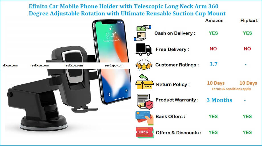 Efinito Car Mobile Holder with 360 Degree Adjustable Rotation & Telescopic Long Neck Arm