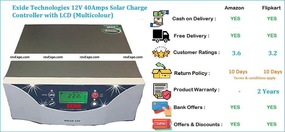 Exide Technologies 12V 40Amps Solar Charge Controller with LCD