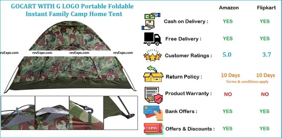 GOCART Instant Family Camping Tent WITH G LOGO Portable, Foldable, Water Proof Backpacking & Dome Shape Shelter Tent