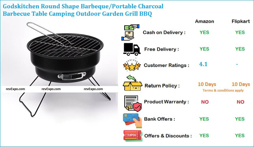 Godskitchen Round Shape Barbecue Grill Portable Charcoal Garden Grill BBQ for Camping & Outdoor