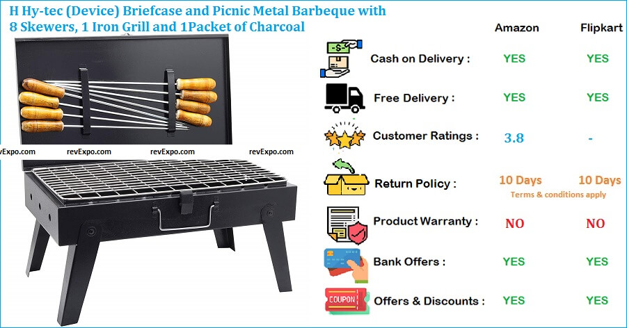 H Hy-tec Device Briefcase and Picnic Metal Barbeque with 8 Skewers, 1 Iron Grill and 1Packet of Charcoal