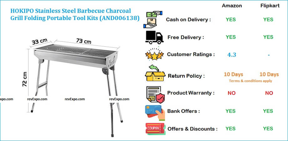 HOKIPO Stainless Steel Barbecue Grill Charcoal with Folding Portable Tool Kits