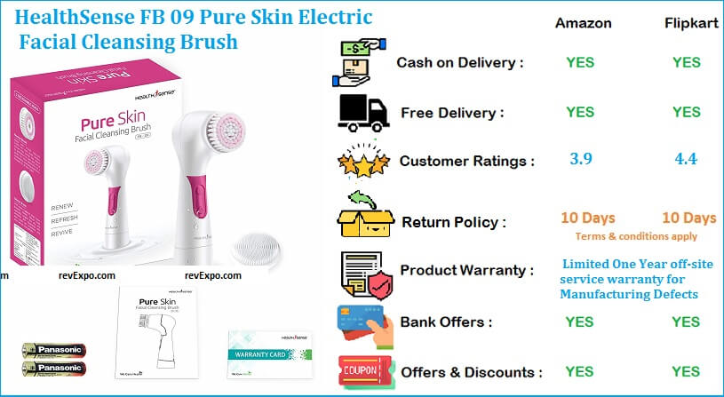 HealthSense FB 09 Electric Face Cleansing Brush