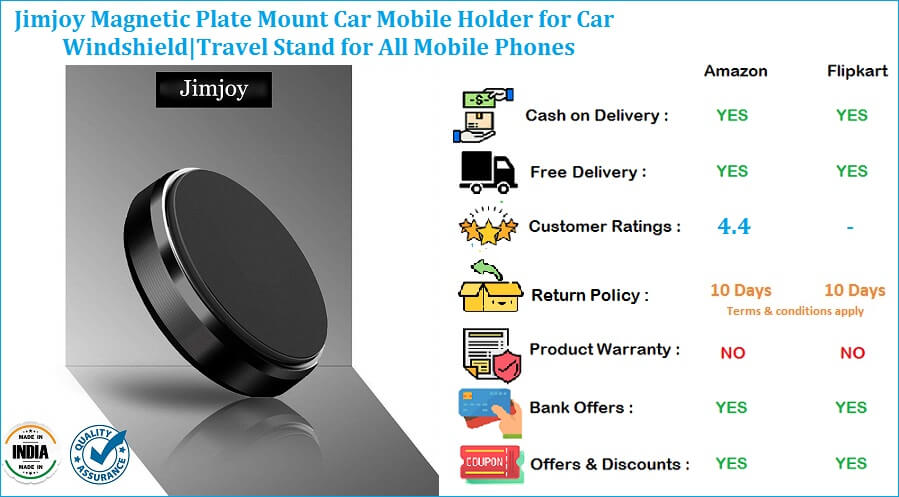Jimjoy Mobile Stand for Car with Magnetic Plate Mount Windshield Travel Stand for All Mobile Phones
