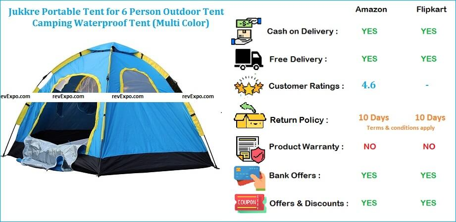 Jukkre Portable Waterproof Outdoor Camping Tent for 6 Person