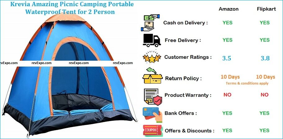 Krevia Portable Waterproof Amazing Picnic Camping Tent for 2 Persons