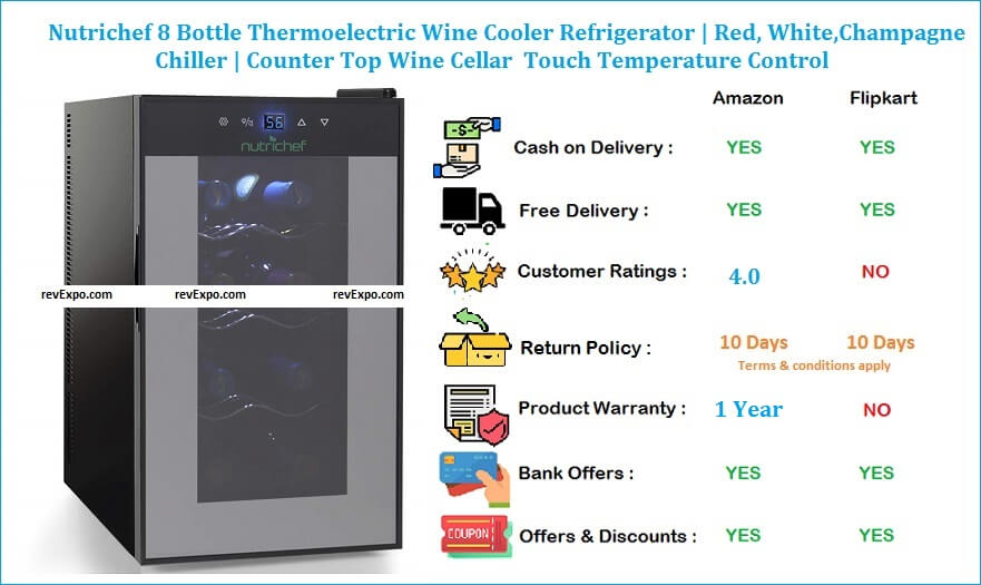 Nutrichef 8 Bottle Thermoelectric Wine Cooler Refrigerator- Red, White,Champagne Chiller- Counter Top Wine Cellar- Quiet Operation Fridge - Touch Temperature Control